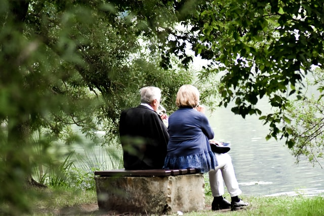 Seniors enjoying a day by the stream together