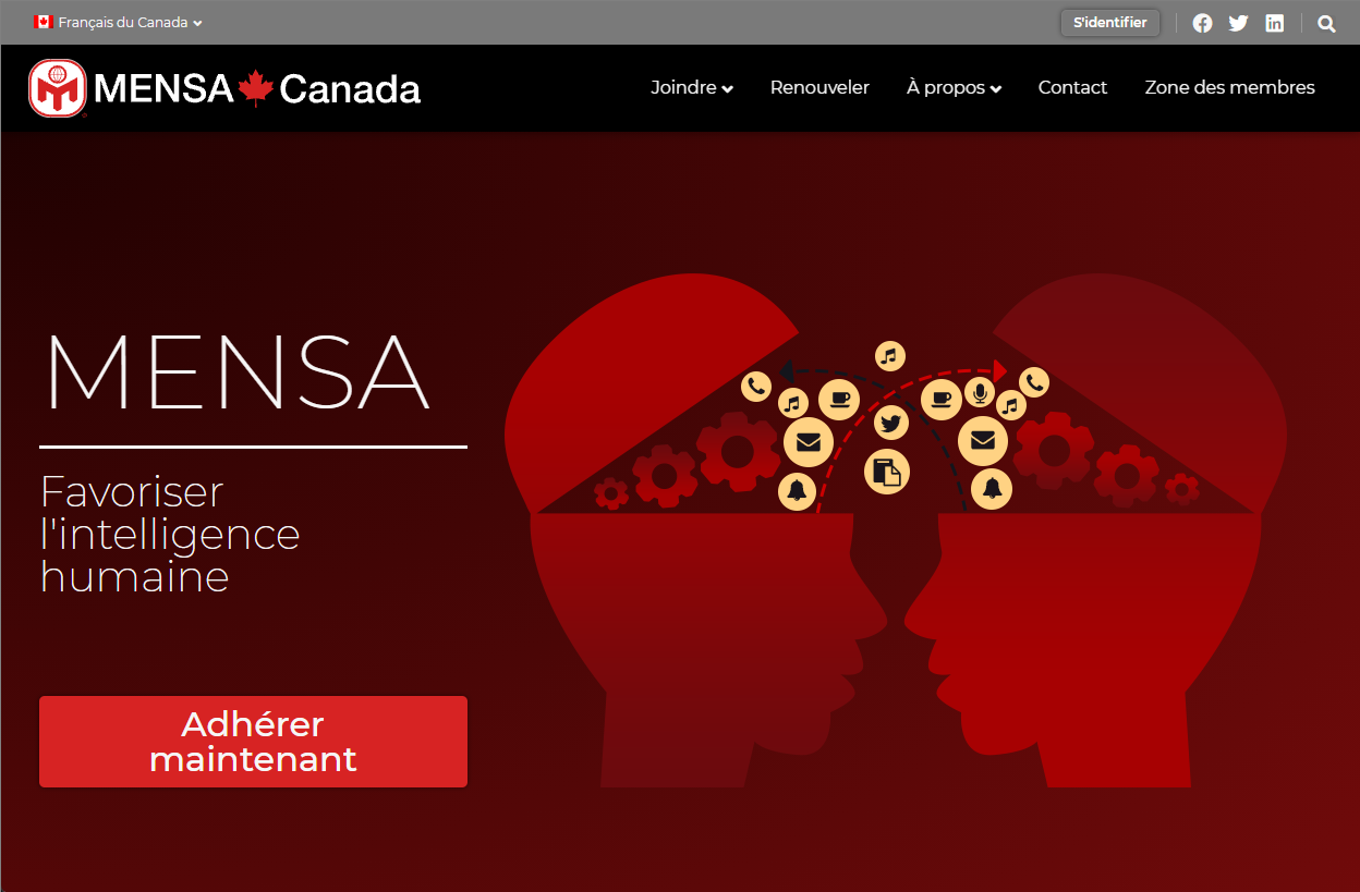 Mensa Canada website is bilingual English and French
